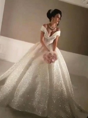 Glittery Ball Gown Wedding Dresses | Off-the-Shoulder Bridal Gowns_1