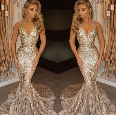 V-neck Sequins Gold Sexy Deep Sleeveless Mermaid Champagne Evening Gown_3