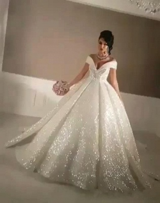 Glittery Ball Gown Wedding Dresses | Off-the-Shoulder Bridal Gowns_4