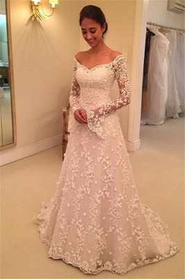 Buttons Long Sleevess Off-the-Shoulder A-Line Lace Appliques Wedding Dresses_2