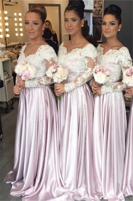 Popular Elegant White-Lace Long-Sleeve V-neck Pink Bridesmaid Dress_2