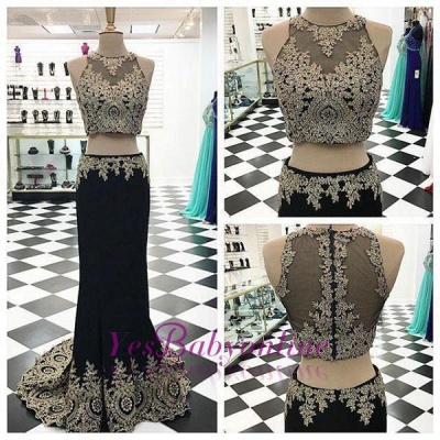 Appliques Crystal Two-Pieces Black Mermaid Sleeveless Prom Dress_1
