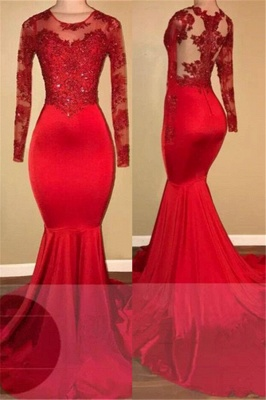 Mermaid Long-Sleeves Amazing Appliques Red Sheer Prom Dresses_2