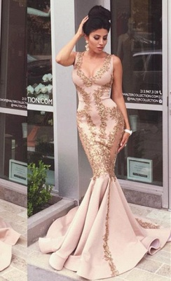 Sexy Pearl Pink Prom Dresses Gold Lace Appliques V-Neck Mermaid Evening Gowns_3