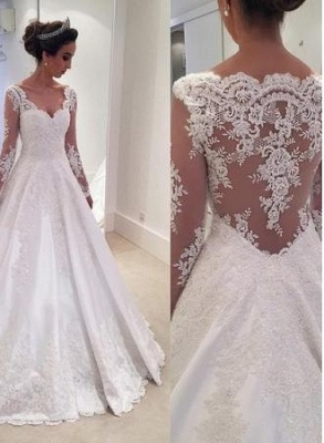 Glamorous  Long-Sleeves Lace Appliques Wedding Dresses_1