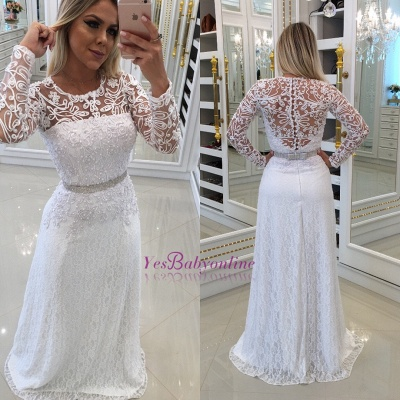 White Scoop Buttons Lace Long-Sleeves Evening Dress_1