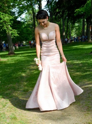 Zipper Pink Sleeveless Mermaid Long Sexy Prom Dresses_4