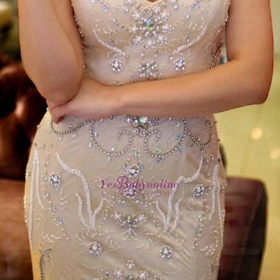 Brilliant Crystals Straps Mermaid Beading Prom Dresses_1