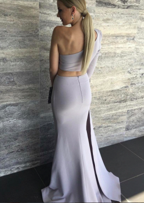 One Shoulder Mermaid Prom Dresses Two-Piece Long Sleeve Evening Dresses_3