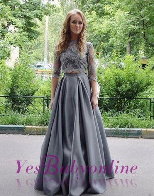 Long Gray Two-Pieces Elegant Hlaf-sleeves Floor-length Lace Scoop Prom Dress_1