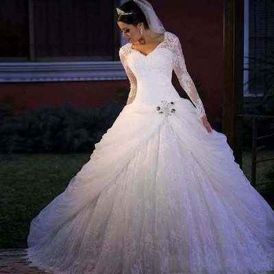 Elegant V Neck Long Sleeve Applique Lace Beaded Ball Gown Wedding Dresses_2
