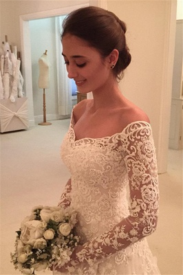 Buttons Long Sleevess Off-the-Shoulder A-Line Lace Appliques Wedding Dresses_3