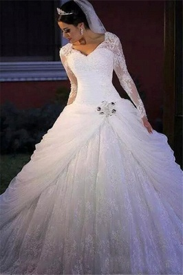 Elegant V Neck Long Sleeve Applique Lace Beaded Ball Gown Wedding Dresses_1
