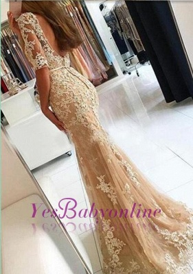 Champagne Lace Mermaid Prom Dresses Half-Long Sleeves Open Back Evening Dresses_1