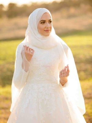 Layers Tulle Long Sleevess Muslim Lace High-Neck Applique Wedding Dresses_4