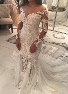 Sparkly Mermaid Long Sleeves Wedding Dresses | Off-the-shoulder V-neck Appliques Bridal Gowns_1