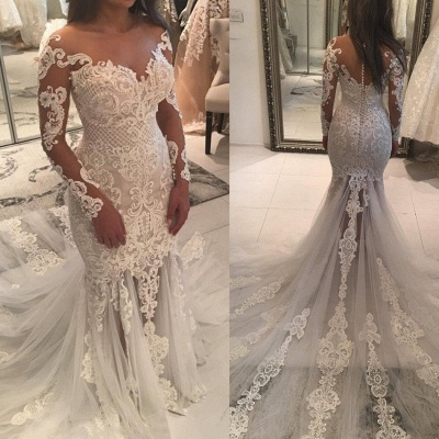 Sparkly Mermaid Long Sleeves Wedding Dresses | Off-the-shoulder V-neck Appliques Bridal Gowns_4