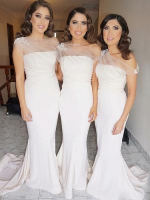 Chic Sleeveless Wedding Party Dresses   Elegant Mermaid Long Bridesmaid Dresses_1
