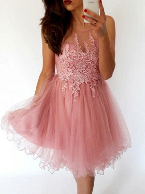 Glamorous Sleeveless Open Back Homecoming Dresses Cheap | 2019 Tulle Short Hoco Dress_1