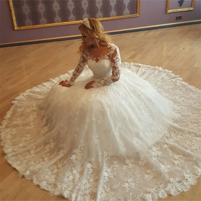Lace Appliques Classic Glamorous Long Sleevess Princess Wedding Dresses_3