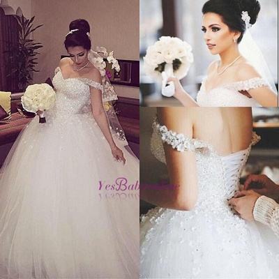 Stunning Off-the-shoulder Beading Appliques Lace-up Princess Ball Gown Wedding Dress_1