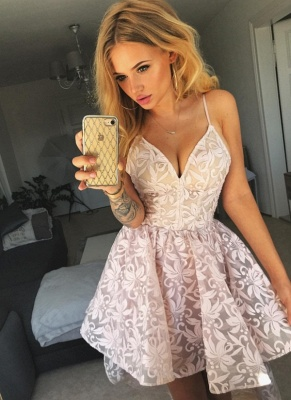 A-Line Pink Floral Homecoming Dresses | Spaghetti Straps Lace High Low Cocktail Dresses_1