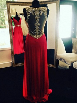 Crystal Beading Long Natural Sleeveless Prom Dresses_2