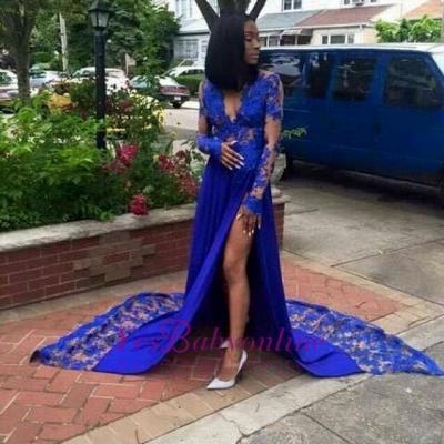 Side-Slit Sexy Royal-Blue Deep-V-Neck Lace Long-Sleeves Prom Dresses_1