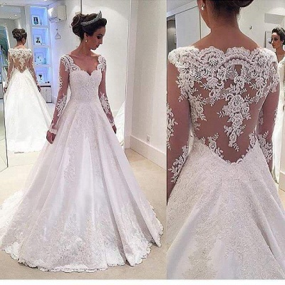 Glamorous  Long-Sleeves Lace Appliques Wedding Dresses_3