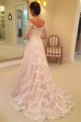 Buttons Long Sleevess Off-the-Shoulder A-Line Lace Appliques Wedding Dresses_4