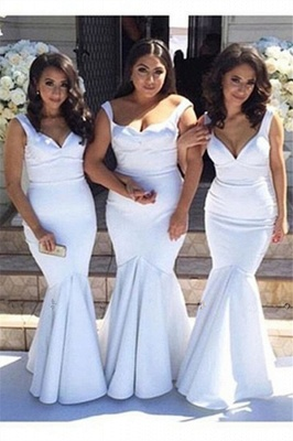 White Simple Floor-Length Sexy Mermaid Gorgeous Straps Cheap Bridesmaid Dress_2