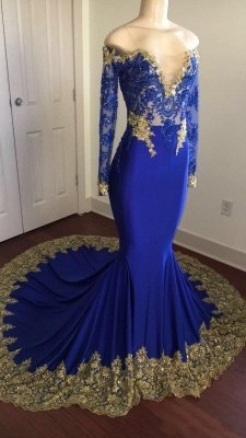 Off-the-shoulder Long Mermaid Prom Dresses   Long Sleeves Appliques Evening Gowns_1