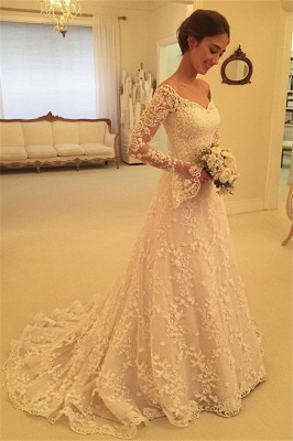 Buttons Long Sleevess Off-the-Shoulder A-Line Lace Appliques Wedding Dresses_5