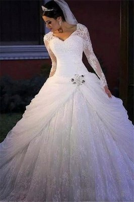 Elegant V Neck Long Sleeve Applique Lace Beaded Ball Gown Wedding Dresses