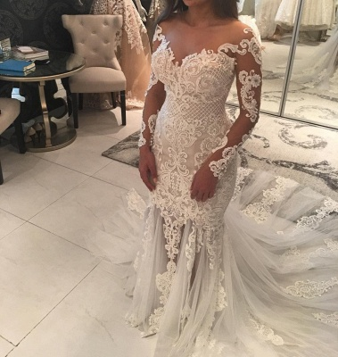 Sparkly Mermaid Long Sleeves Wedding Dresses | Off-the-shoulder V-neck Appliques Bridal Gowns_3
