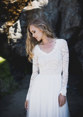 A-Line Chiffon Tulle Long Sleeve V-Neck Lace Wedding Dress_3