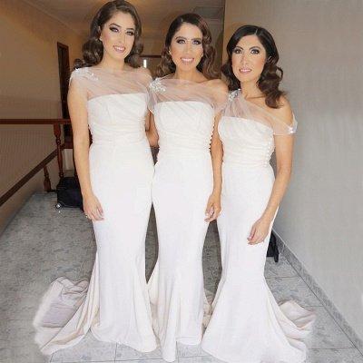 Chic Sleeveless Wedding Party Dresses   Elegant Mermaid Long Bridesmaid Dresses_3