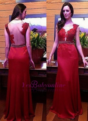 Glamorous Red Sleeveless Crystal Long Lace Appliques Evening Dress_1