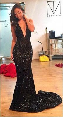 Sequins Mermaid Black Halter Open-Back Deep-V-Neck Prom Dress_4