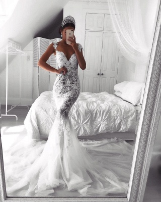 Sexy Lace Mermaid Wedding Dresses | See-Through Cap Sleeves Bridal Gowns_4