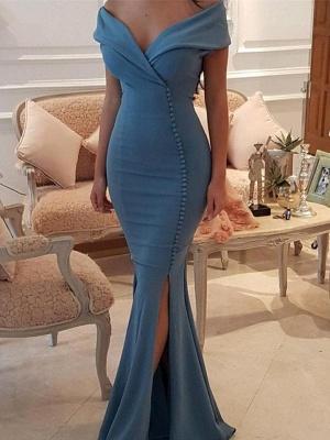 Sexy V-Neck Mermaid Prom Dresses | Side Slit Sleeveless Evening Dresses_1