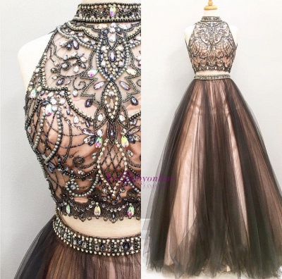 Glamorous Crystals Two-Pieces Prom Dress Chocolate Color A-line Party Dresses_1