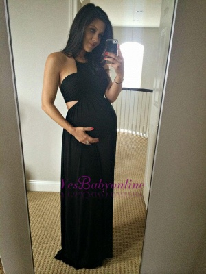 Halter Sleeveless Black Long Sexy A-line Maternity Prom Dress_1