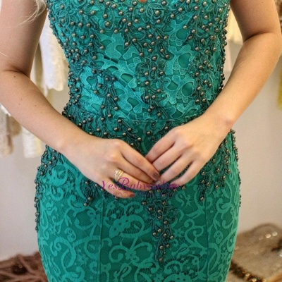 Straps Mermaid Pearls Lace-Applique Glamorous Prom Dresses_1