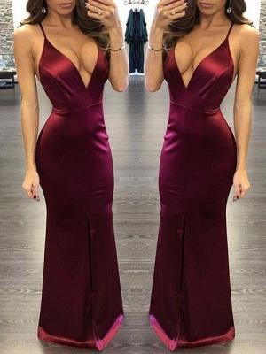 Spaghettis Straps Burgundy Prom Dresses | Sexy Slit Sheath Evening Gown_1