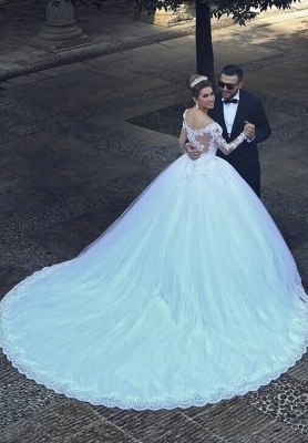 Lace Princess Ball Gown Tulle Beadings Appliques Long Sleevess Glamorous Wedding Dresses_4