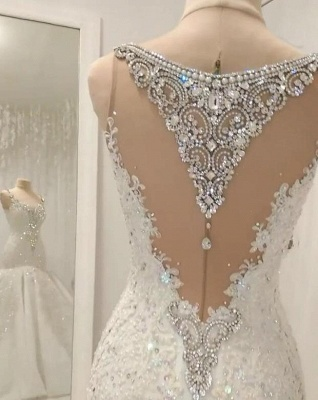 Straps Sweetheart Crystal Mermaid Wedding Dresses with Lace Appliques_2