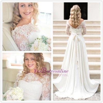 Fall Sash Bateau-Neck Glamorous Bow A-line Long Sleevess Lace Wedding Dresses_1