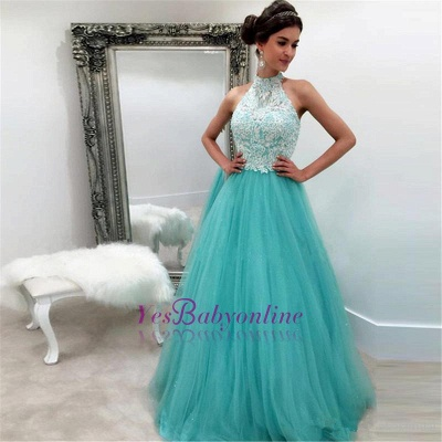 High-Neck A-line Lace Sleeveless Tulle Elegant Evening Dress_1
