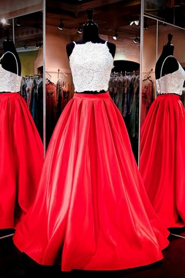 Glamorous Two-Piece Prom Dresses White Red A-line Evening Gowns_4